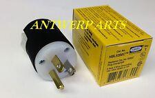 Hubbell 5266C Plug, 15 amp, 125V, 5-15P, Black/White Nylon, Made in USA.
