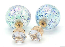 NEW DOUBLE PEARL BLUE GLITTER SPARKLE BALL BEAD CRYSTAL STUD EARRINGS