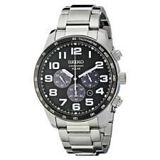 Seiko SSC229 Men's Core Solar Black Dial SS Bracelet Chrono Watch