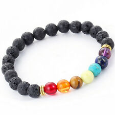 Reiki 7 Gemstone Chakra Lava Rock Stone Spacer Healing Bead Bangle Bracelet SLG