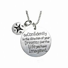 Inspirational Message Compass Charm Pendant Necklace Sterling Silver Filled W...