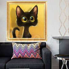 DIY 5D Cat Diamond Sticker Rhinestone Cross Stitch Painting Home Decor Big Eyes