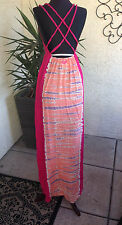 NWT Roxy Junior's  Women's Maxi Braided Dress Fire Bloom Pink, Orange purple Med
