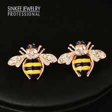 Cute Jewelry Solid Little Bee Stud Earrings For Women 18K Rose Gold Plated Es774