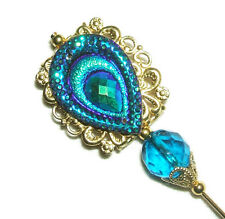 PEACOCK FEATHER Stick Hat Pin Long Hatpin CARNIVAL COLOR Vintage Style GOLD Pltd