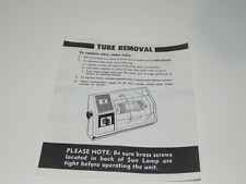 Vintage Instruction for Signature Tan Lamp... How to replace Utra Violet tube.