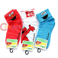 Sesame Street Elmo and Cookie Monster Socks Set 3 Pair Cuff  Socks (Size 6-8)