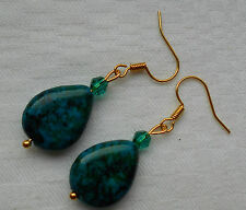 Unique handmade green chrysocolla teardrop gold plated earrings +free stoppers