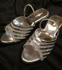 Size 11 Girls Kids Indian Bollywood Fancy  Shoes Heels Slip On Sandals Silver