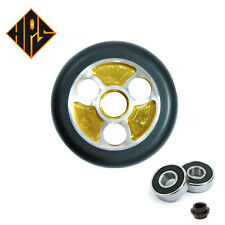 2X PRO STUNT SCOOTER GOLD BLADE METAL CORE WHEELS 100mm 88A ABEC 9 BEARINGS 11