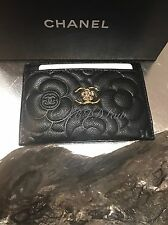 NWT CHANEL 2016 Black Caviar Camellia Flower Card Case Holder O-Case Wallet NEW