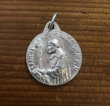 Vintage Saint Dominic Aluminum Medal French Wording St Rosaire Signed