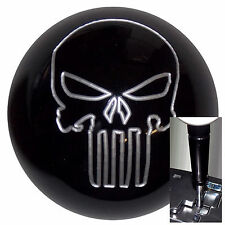 Black w/ Silver Punisher Skull knob w/ black adapter for auto shifters See desc.