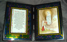 OUR LADY OF LOURDES Stained Glass Desk Plaque 10x7 NEW Mary St Bernadette