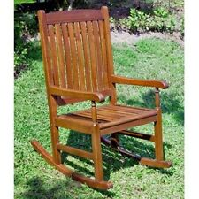 International Caravan Traditional Stained Acacia Wood Slat Rocking Chair NEW