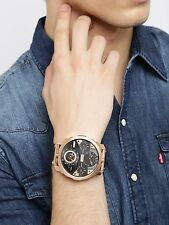Brand New Diesel Men Oversize 56mm Rose Gold Machinus 4 Time Zone Watch DZ7380