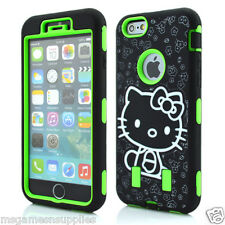"""Green Hello Kitty DEFENDER Armor Shockproof Hybrid Case for iPhone 6+ 6PLUS 5.5"""""""