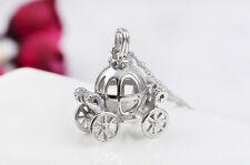 Zirconia Top 3D Pumpkin Car Cinderella Pendant Jewelry Make 925 Sterling Silver