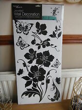 Floral, Butterfly (Large) Wall Sticker With Jewels By Home Decor (58cm X 30cm)