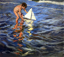 Art Oil painting The Young Yachtsman little boy playing by summer beach canvas
