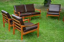 Denmark 1960s: Illum Wikkelsø for Eilersen Easy Chair Group Teak & Lether