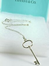 """Authentic Tiffany & Co. Key Pendant Chain Link Necklace Sterling Silver 18"""" L"""