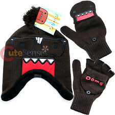 Domo Kun Nerd Knitted Laplander Hat Beanie with Fingerless Mitten Glove Set