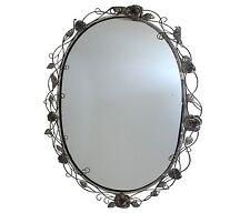 style ancien miroir metal fer ovale gris avec rose mural de salle de bain 73cm