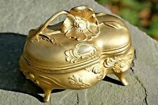 "Large Great Jewelers Gold Art Nouveau 5"" Victorian Poppy Jewelry Casket Box 1908"