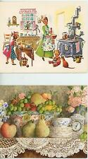 1 LANG TEACUP CARD & VINTAGE CHEF COOK RICE PUDDING CRANBERRY PIE RECIPES PRINT