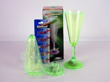 2 Green Acryic LED Lighted Champagne Flutes Party Drink Special Event Beverage