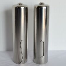 VTG Denmark Danish Mid Century Modern Stainless Steel Pair Salt Pepper Shakers