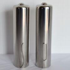 VTG Denmark Danish Mid Century Modern Stainless Steel Pair Salt Pepper Shakers