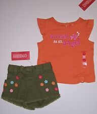 NWT Gymboree Floral Reef 3-6 Months Sweet As an Angel Tee & Embroidered Shorts