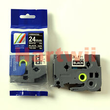 Brother TZ-355 P-Touch Compatible White on Black Label Tape 24mm 8m TZe-355