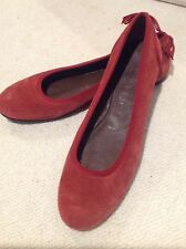 NEW! Women's SALVATORE FERRAGAMO Burnt Orange Suede Ballet Flats Sz 8B