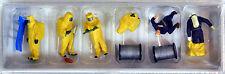 Preiser 1/87 HO Firemen Yellow Chemical HAZMAT Resistant Suits FIGURE SET 10733