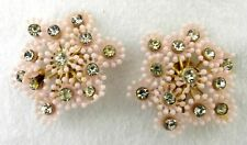 Coro Clip Back Earrings Pink Flower Snowflake Rhinestone Vintage Costume