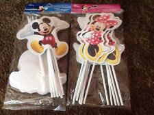 DISNEY MICKEY AND MINNIE MOUSE 12 PC DECORATIVE PARTY TOPPERS OR CAKE TOPPERS
