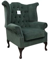 Chesterfield Queen Anne High Back Wing Chair Pimlico Ocean Green Fabric