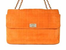 CHANEL Orange Square Quilted Suede Chain Multi Flap Shoulder Bag