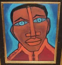 ELMER SANDERS AFRICAN AMERICAN MAN'S FACE ORIGINAL OIL ON BOARD PAINTING SIGNED