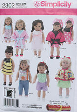 "18"" GIRL DOLL CLOTHES Simplicity Sewing Pattern # 2302 American Made  NEW"