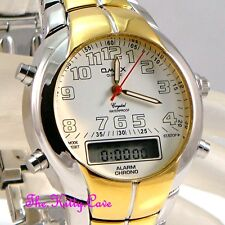 Omax Waterproof Gold Rhodium Plt Dual Time Chronograph Sports Alarm Watch ADA001