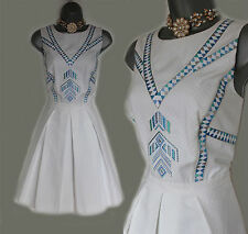 Karen Millen White Jacquard Embroidered Cut Out Back Cotton Dress sz-14/42 £180