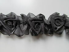 Stretch Elasticated Organza Flower Rose Black Trim Sewing/Costume/Crafts