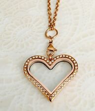 Stainless Steel Floating Charm Locket Rose Gold Heart with Chain