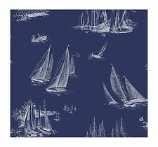 York Wallpaper AC6136 Nautical Living Sailboat Wallpaper, Blueprint Blue/White
