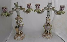 Helena Wolfsohn Figural Candelabra German Porcelain Blue AR Mark Height 28cm