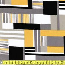 Cloud 9 Fabrics Fabric I Haus Rectangles Yellow Metre PER METRE Geometric Abstra